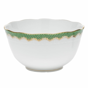 Herend White With Green Border Round Bowl (3.5Pt) 7.5''D - Jade
