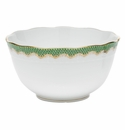 "Herend White With Green Border Round Bowl (3.5Pt) 7.5""D - Jade"