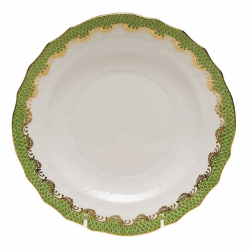 Herend White With Green Border Salad Plate 7.5''D - Evergreen