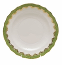 "Herend White With Green Border Salad Plate 7.5""D - Evergreen"
