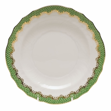Herend White With Green Border Salad Plate 7.5''D - Jade