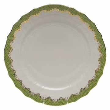 Herend White With Green Border Service Plate 11''D - Evergreen