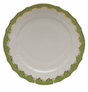"Herend White With Green Border Service Plate 11""D - Evergreen"