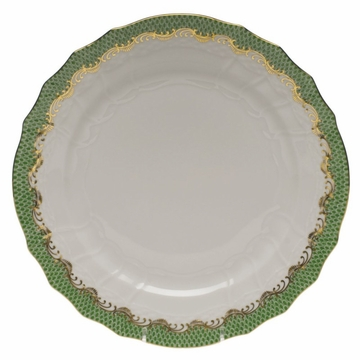 Herend White With Green Border Service Plate 11''D - Jade