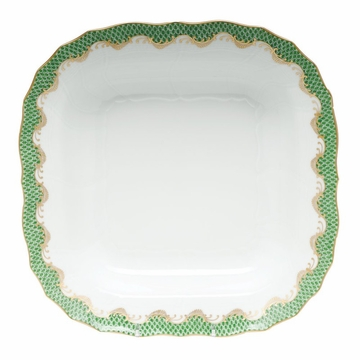 Herend White With Green Border Square Fruit Dish 11''Sq - Jade