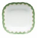 "Herend White With Green Border Square Fruit Dish 11""Sq - Jade"