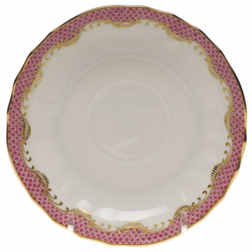 Herend White With Pink Border Canton Saucer 5.5''D