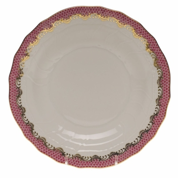 Herend White With Pink Border Dessert Plate 8.25''D