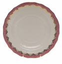 "Herend White With Pink Border Dessert Plate 8.25""D"