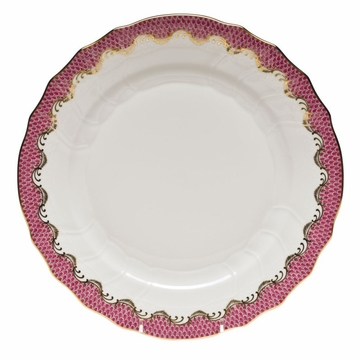 Herend White With Pink Border Dinner Plate 10.5''D