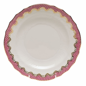 Herend White With Pink Border Salad Plate 7.5''D