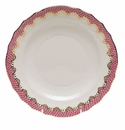 "Herend White With Pink Border Salad Plate 7.5""D"