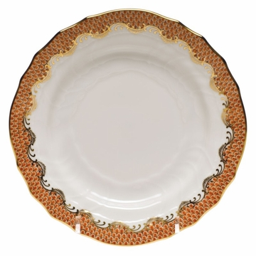 Herend White With Rust Border Bread & Butter Plate 6''D
