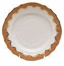 "Herend White With Rust Border Bread & Butter Plate 6""D"