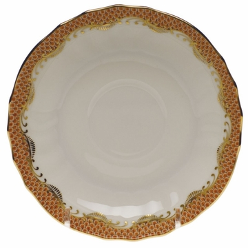 Herend White With Rust Border Canton Saucer 5.5''D