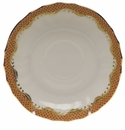 "Herend White With Rust Border Canton Saucer 5.5""D"