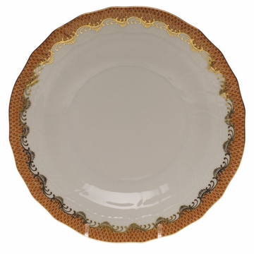 Herend White With Rust Border Dessert Plate 8.25''D