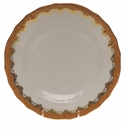 "Herend White With Rust Border Dessert Plate 8.25""D"