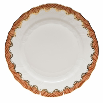 Herend White With Rust Border Dinner Plate 10.5''D