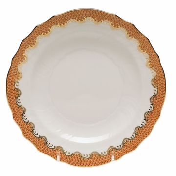 Herend White With Rust Border Salad Plate 7.5''D