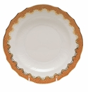 "Herend White With Rust Border Salad Plate 7.5""D"
