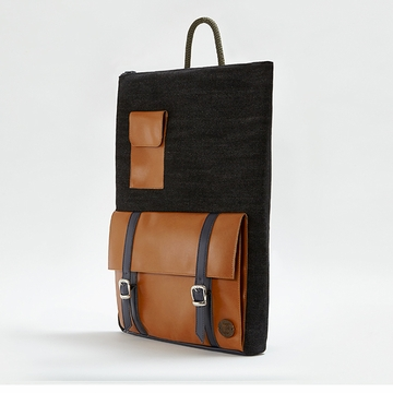 IF Black & Light Brown Unisex Backpack with Pocket - Made in Italy