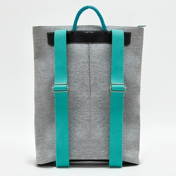 IF Grey, Black & Turquoise Unisex Backpack with Pocket - Made in Italy