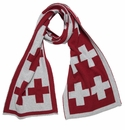 in2green Reversible Swiss Cross Scarf Pomegranate/Aluminum
