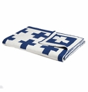 in2green Swiss Cross Cobalt/Milk Reversible Baby Blanket