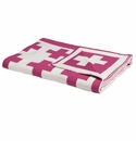 in2green Swiss Cross Fuchsia/Milk Reversible Baby Blanket