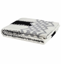 in2green Throws Feathered Stripe Black with Aluminum Border Throw
