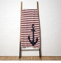 in2green Throws French Stripe Anchor Pomegranate Throw