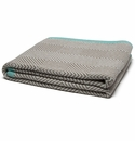 in2green Throws Woven Square Milk/Seafoam Border-Hemp Throw