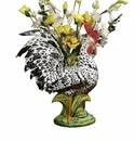 "Intrada Italy 23"" Black & White Rooster Vase"