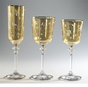 Intrada Italy Amber Water Glasses with Lucy Design & Gold Trim (4)