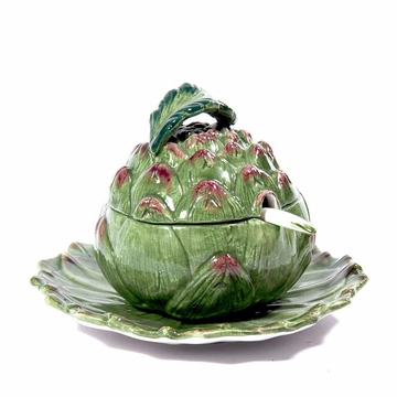 Intrada Italy Artichoke Sauce Boat with Plate 8''D