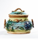 "Intrada Italy Biscotti Jar Fruits Oval with Handles 8.5""H x 10""W"