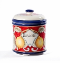 "Intrada Italy Biscotti Jar Red with Lemons 8""H x 6""W"