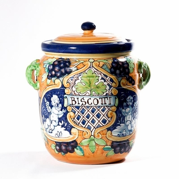 Intrada Italy Biscotti Jar with Angels & Grapes 13''H x 10''D