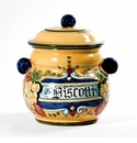 "Intrada Italy Biscotti Jar with Green Grapes 10""H x 8.5""D"