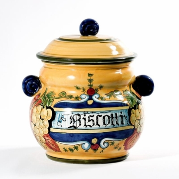Intrada Italy Biscotti Jar with Green Grapes 10''H x 8.5''D