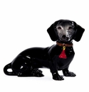 Intrada Italy Black Patinato Dachshund Dog Statue