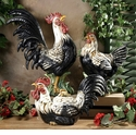 "Intrada Italy Campagna 22"" Black & White Rooster Statue"