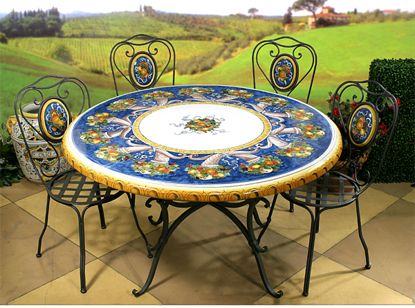 Delicieux Intrada Italy Ceramic Table Cornucopia With Iron Base