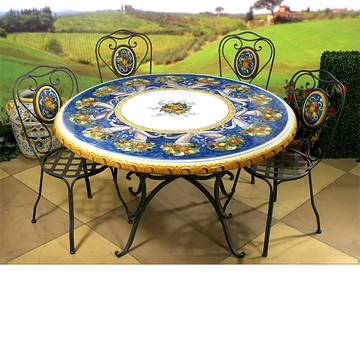 Intrada Italy Ceramic Table Cornucopia with Iron Base