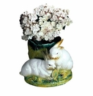 "Intrada Italy Double Bunnies Cachepot 14""H"