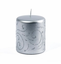 Intrada Italy Florentine Silver Small Pillar Candle