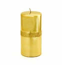 Intrada Italy Gold Glitter Large Pillar Candle