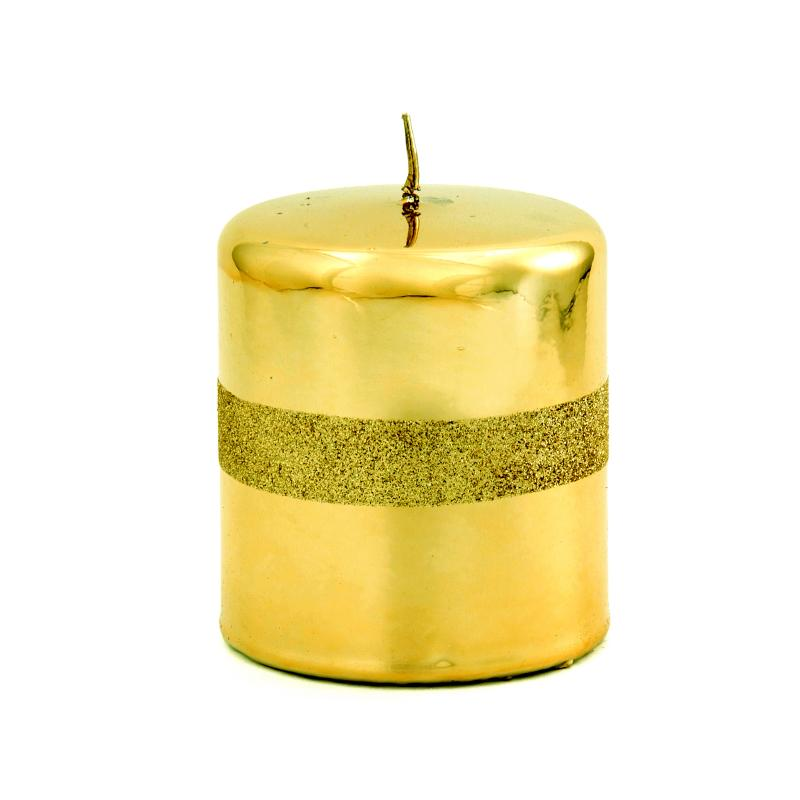 Intrada italy gold glitter small pillar candle for Shimmer pillar candle