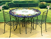 Intrada Italy Lava Stone Table Rossella with 4 Chairs